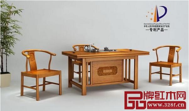 匠王红木众筹的新中式红木家具--刺猬紫檀怡然茶台(6/S)-匠王红木