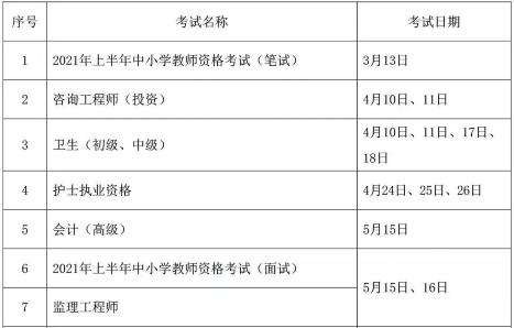 2021职业资格考试时间公布
